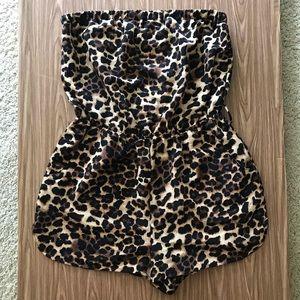 Leopard/Cheetah Print Silky Strapless Romper